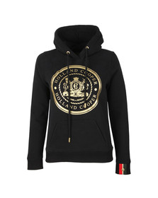 Holland Cooper Womens Black Sportswear Luxe Crest Hoodie