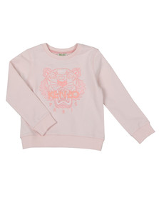 Kenzo Kids Girls Pink Embroidered Tiger Sweat