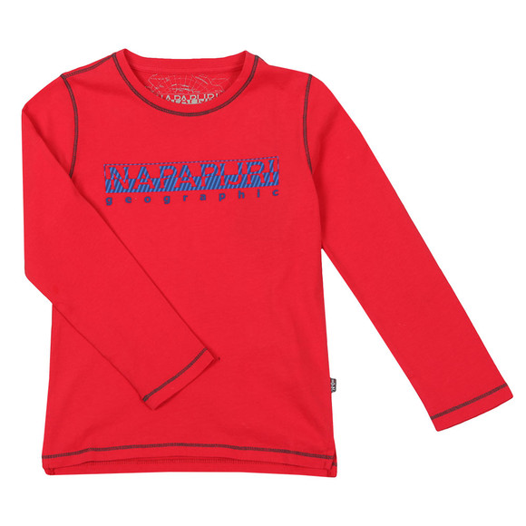 Napapijri Boys Red Sion Long Sleeve T Shirt