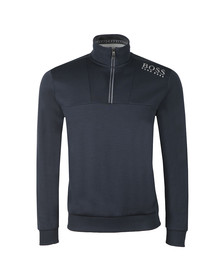 BOSS Mens Blue Athleisure Reflective Logo Half Zip Sweat