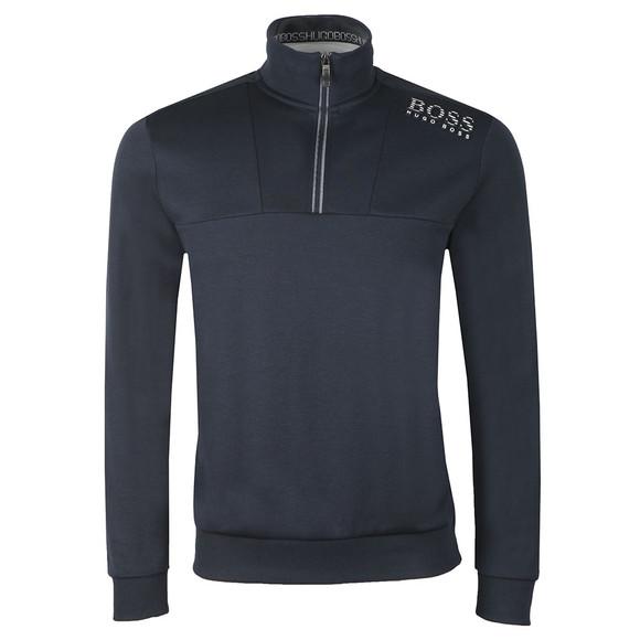 BOSS Mens Blue Athleisure Reflective Logo Half Zip Sweat main image