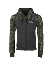 EA7 Emporio Armani Mens Black Cut & Sew Camo Full Zip  Hoody