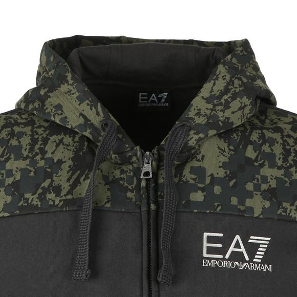 EA7 Emporio Armani Mens Black Cut & Sew Camo Full Zip  Hoody main image
