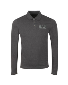 EA7 Emporio Armani Mens Grey Small Logo Polo Shirt LS