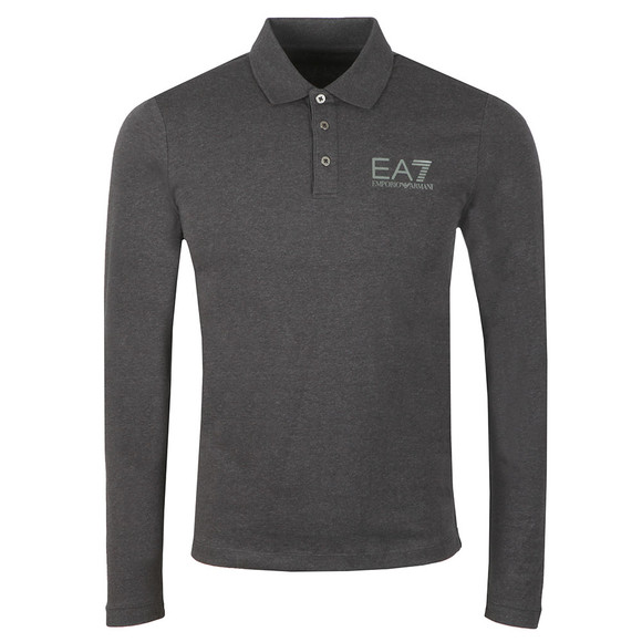 EA7 Emporio Armani Mens Grey Small Logo Polo Shirt LS main image