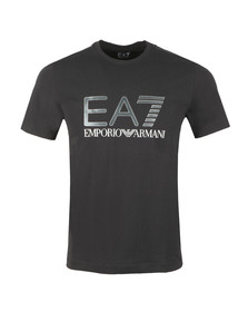 EA7 Emporio Armani Mens Black Large Chest Logo Tee
