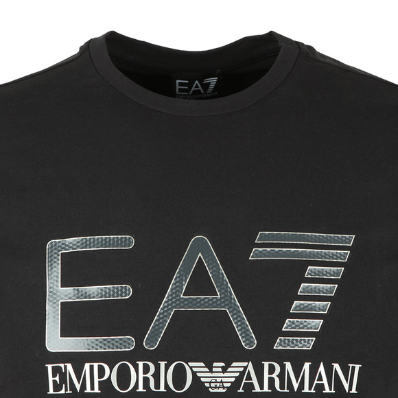 EA7 Emporio Armani Mens Black Large Chest Logo Tee main image