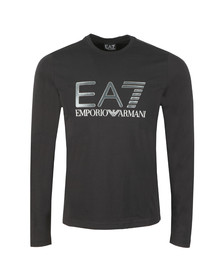 EA7 Emporio Armani Mens Black Large Chest Logo Long Sleeve T Shirt