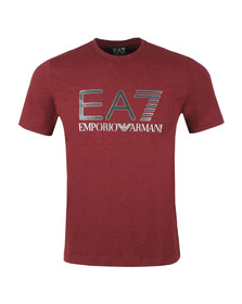 EA7 Emporio Armani Mens Red Large Chest Logo Tee