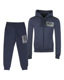 EA7 Emporio Armani Mens Blue Large Box Logo Full Zip Hooded Tracksuit
