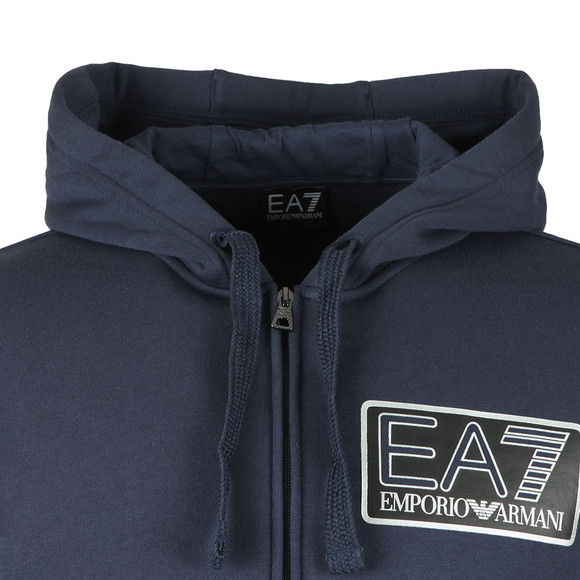 EA7 Emporio Armani Mens Blue Large Box Logo Full Zip Hooded Tracksuit main image
