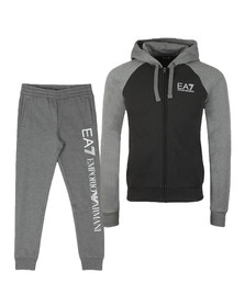 EA7 Emporio Armani Mens Grey Two Tone Full Zip Hooded Tracksuit