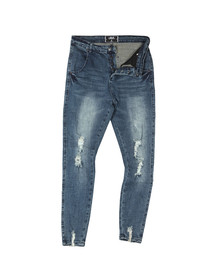 Sik Silk Mens Blue Jagged Hem Denim Jean
