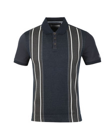 Original Penguin Mens Blue S/S Vertical Stripe Polo