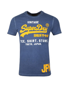 Superdry Mens Blue S/S Duo Overdyed Tee