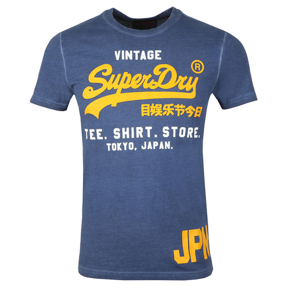 Superdry Mens Blue S/S Duo Overdyed Tee main image
