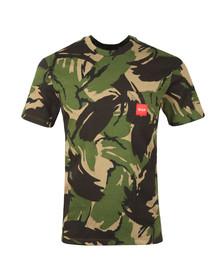 HUF Mens Green Woven Label Pocket Camo T Shirt