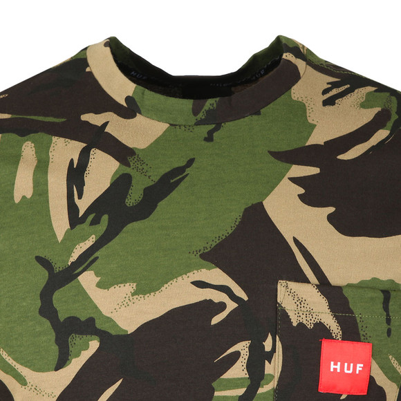 HUF Mens Green Woven Label Pocket Camo T Shirt main image