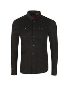 Luke Mens Black Our Roy LS Popper Fastening Shirt