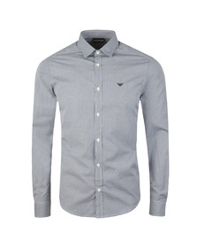 Emporio Armani Mens Blue Long Sleeve Check Shirt
