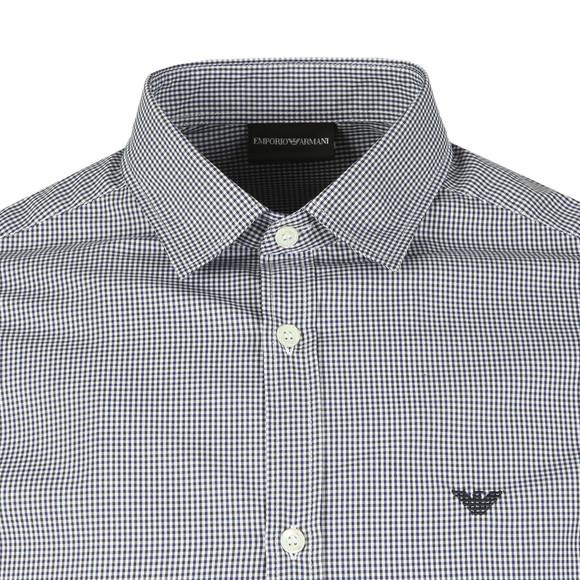 Emporio Armani Mens Blue Long Sleeve Check Shirt main image