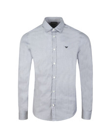 Emporio Armani Mens Blue Small Logo Long Sleeve Shirt