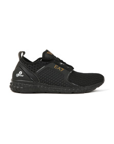 EA7 Emporio Armani Mens Black Gold Logo Trainer