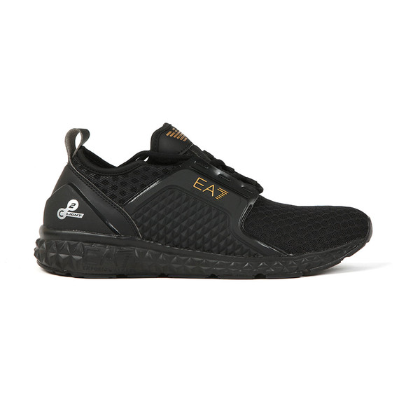 EA7 Emporio Armani Mens Black Gold Logo Trainer main image
