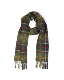 Barbour Lifestyle Mens Green Tartan Lambswool and Cashmere Scarf