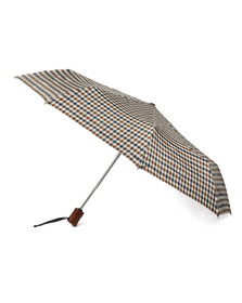 Aquascutum Mens Brown Small Club Check Umbrella