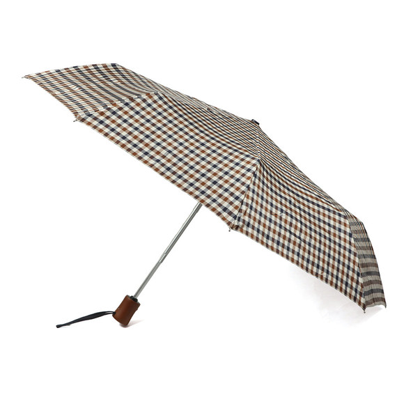 Aquascutum Mens Brown Small Club Check Umbrella main image