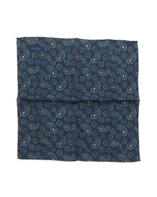 Eton Mens Blue Paisley Pocket Square