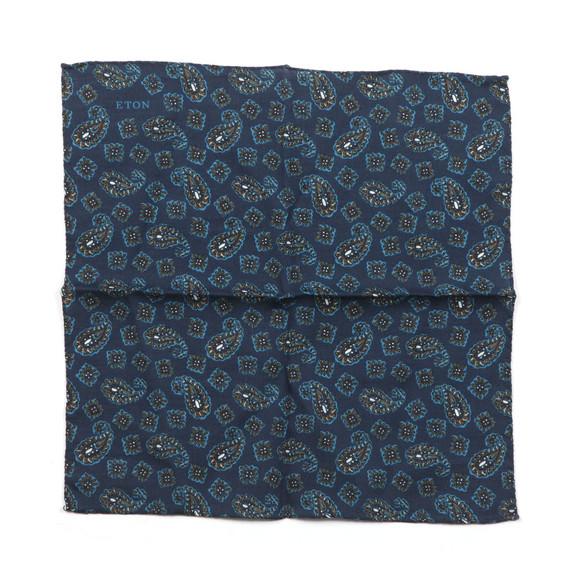 Eton Mens Blue Paisley Pocket Square