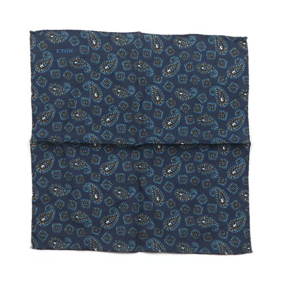 Eton Mens Blue Paisley Pocket Square main image