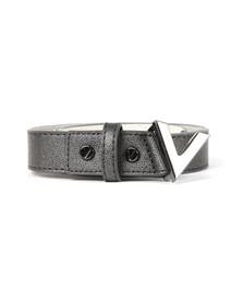 Valentino by Mario Womens Black Marilyn Plaque Buckle Belt