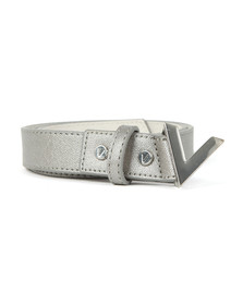 Valentino by Mario Womens Silver Marilyn Plaque Buckle Belt