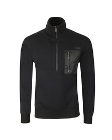 HUGO Mens Black Sdouble Half Zip Jumper