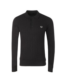 Fred Perry Mens Black Textured Front Knitted Polo Shirt