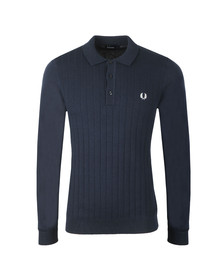 Fred Perry Mens Blue Textured Front Knitted Polo Shirt