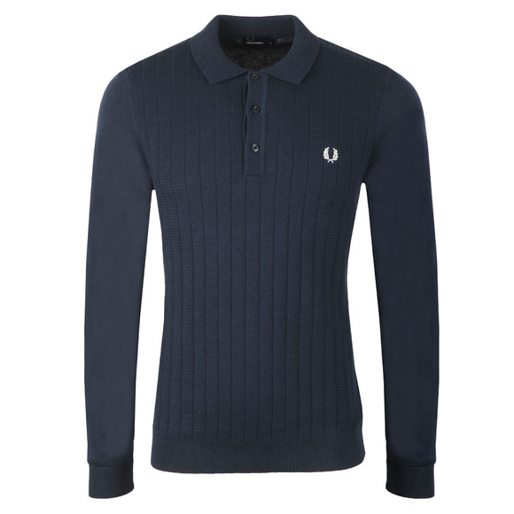 Fred Perry Mens Blue Textured Front Knitted Polo Shirt main image
