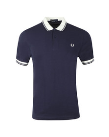 Fred Perry Mens Blue Contrast Rib Pique Polo Shirt