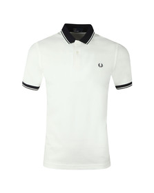 Fred Perry Mens White Contrast Rib Pique Polo Shirt