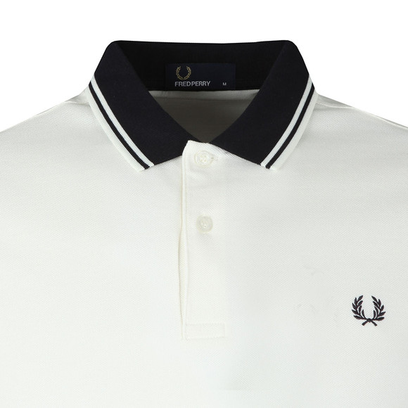 Fred Perry Mens Off-White Contrast Rib Pique Polo Shirt main image