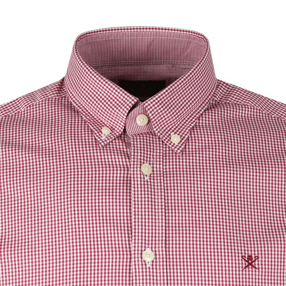 Hackett Mens Red L/S Mini Check Shirt main image