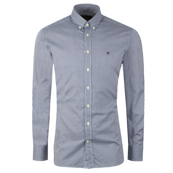 Hackett Mens Blue L/S Mini Check Shirt main image