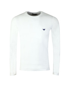 Emporio Armani Mens White Embroidered Small Logo Long Sleeve T Shirt