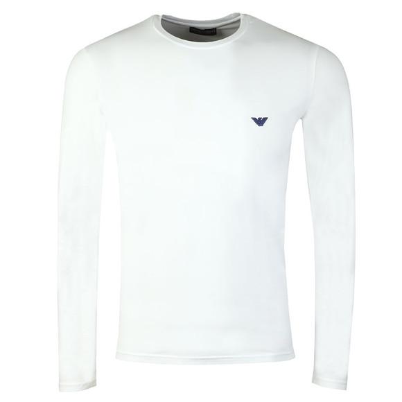 Emporio Armani Mens White Embroidered Small Logo Long Sleeve T Shirt main image