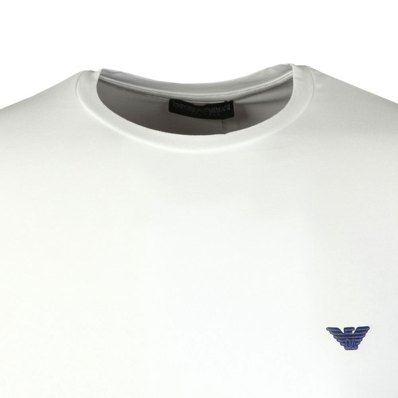 Emporio Armani Mens White Embroidered Small Logo Long Sleeve T Shirt main image