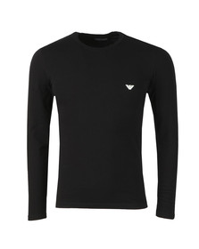 Emporio Armani Mens Black Embroidered Small Logo Long Sleeve T Shirt