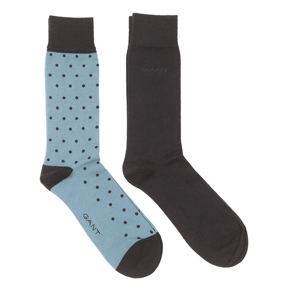 Gant Mens Blue 2 Pack Dot and Solid Socks main image